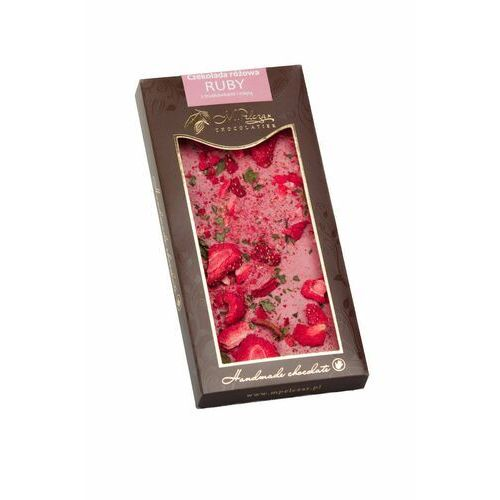M. pelczar chocolatier M.pelczar czekolada różowa ruby z truskawkami i miętą 85g (5902768996791)