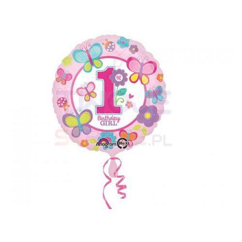 Balon 1st b-day girl motylki róż 17'' 43cm marki Twojestroje.pl