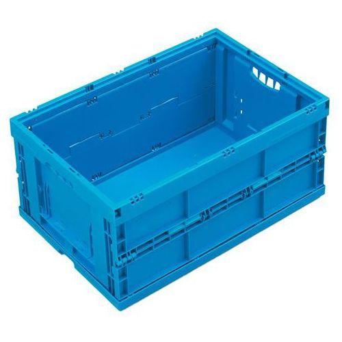 Pojemnik składany z polipropylenu, poj. 54 l, z pokrywą na zawiasach, niebieski. marki Walther faltsysteme