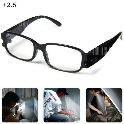 Currency Detect Function LED Eyeglass LED Reading Glasses Magnifier with Lights +2.5 - sprawdź w wybranym sklepie