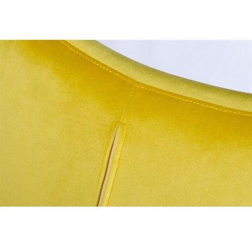 Fotel EGG SZEROKI VELVET BLACK z podnóżkiem żółty.20 - welur, podstawa czarna, kolor żółty