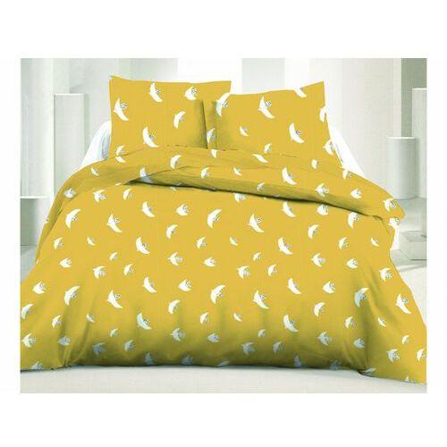 Pościel 100% bawełny sunny - 220x240 cm + 2 poszewki na poduszkę 65 x 65 - kolor żółty i biały marki Vente-unique