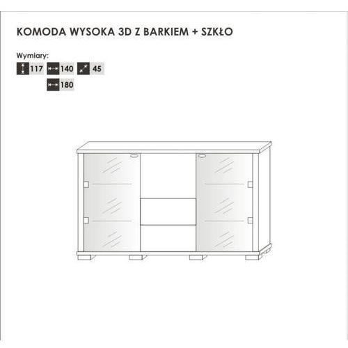 Komoda wysoka 3D z barkiem + szkło 140 cm Kolekcja Walenty Połysk, 10