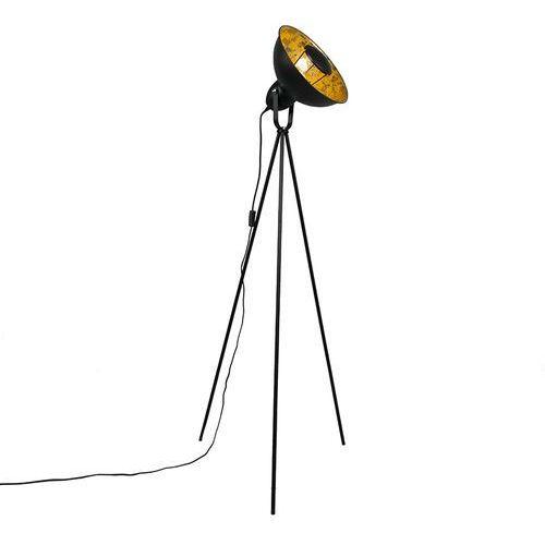 Qazqa Lampa podłogowa magna basic czarna ze złotym
