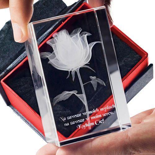 RÓŻA 3D Kwiat Miłości ♥ personalizowana statuetka 3D średnia • GRAWER 3D