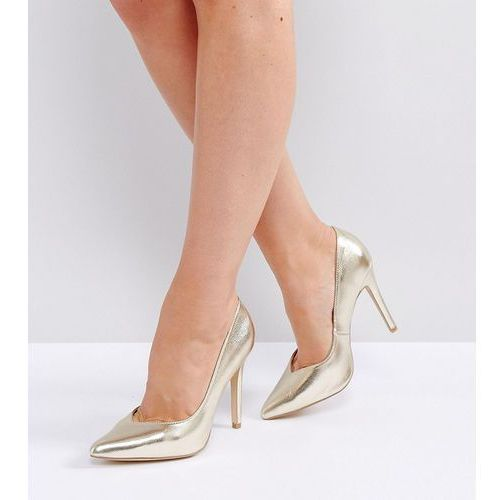 wide fit metallic pointed heeled court shoes - gold, New look