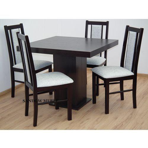 Rozkładany Kwadratowy Stół 90x90 Plus 4 Drewniane Krzesła Okazja