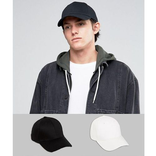 2 pack baseball cap in black and white save - multi marki Asos