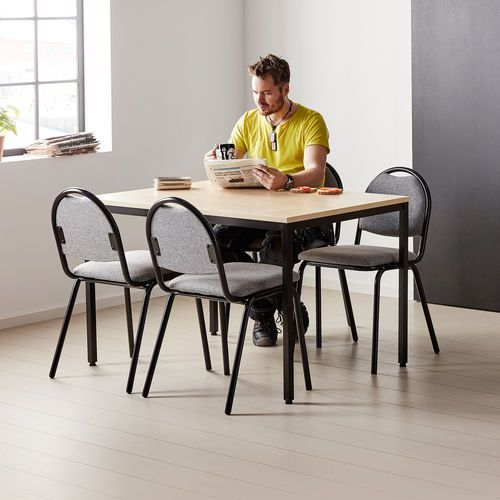 Zestaw mebli do stołówki, stół 1200x800 mm, brzoza + 4 krzesła, szary/czarny, kolor szary