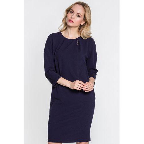 Sukienka z aplikacją w kolorze ciemnego granatu - Margo Collection, kolor niebieski