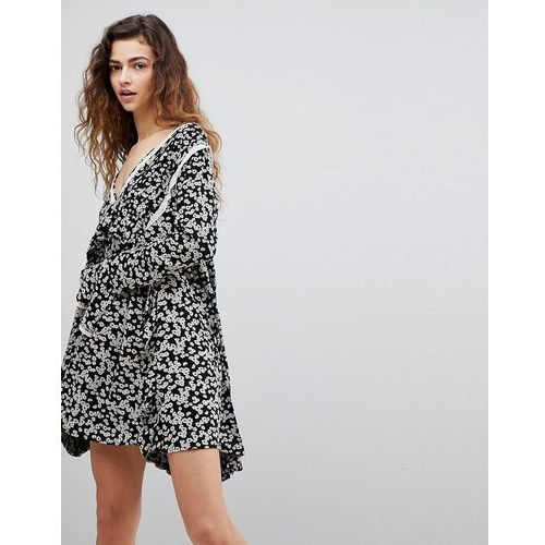 Free People Like You Best Ditsy Floral Print Dress - Black