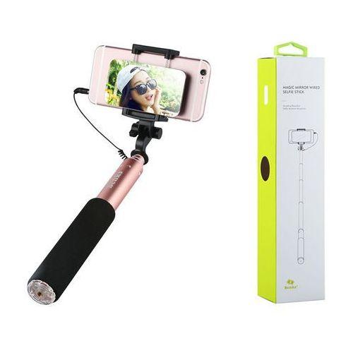 Monopod  selfie stick magic mirror różowy - różowy marki Benks