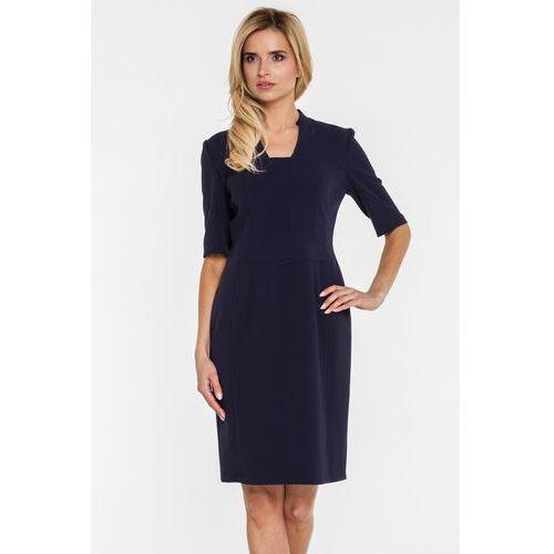 Granatowa sukienka o ciekawym fasonie - Vito Vergelis, 1 rozmiar
