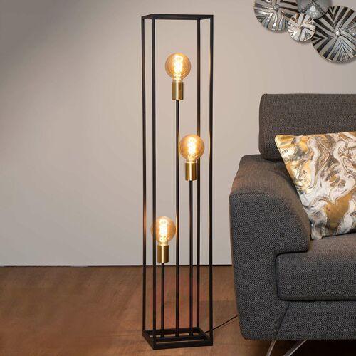 Lucide Ruben 00724/03/30 Lampa stojąca podłogowa 3x40W E27 czarna/satynowy mosiądz (5411212000200)