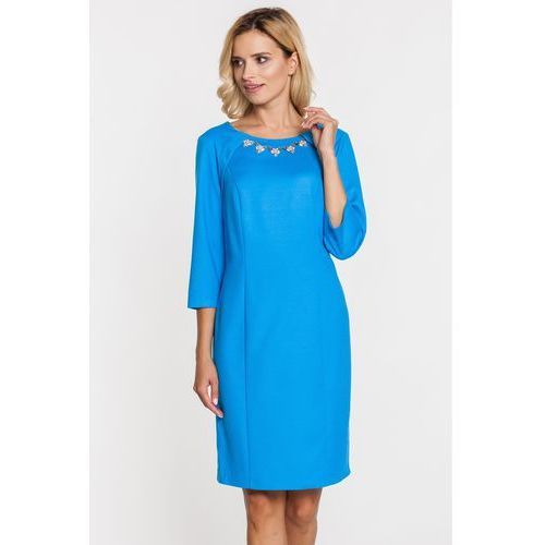 Margo collection Niebieska sukienka ze srebrzystą kolią -