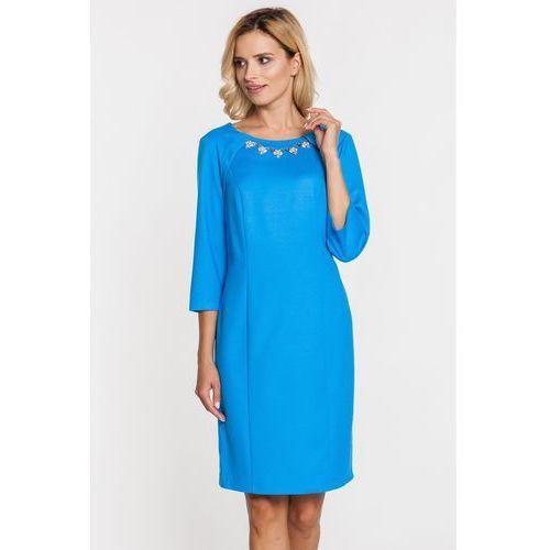 Niebieska sukienka ze srebrzystą kolią - Margo Collection, 1 rozmiar