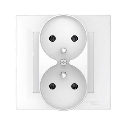 Schneider electric Gniazdo podwójne asfora z uziemieniem do ramki białe (3606481333056)