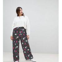 wide leg trousers in spot floral print - black marki Asos curve