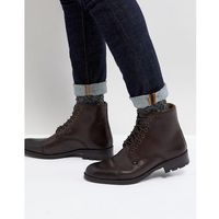 military lace up boots in brown leather - brown, Ben sherman
