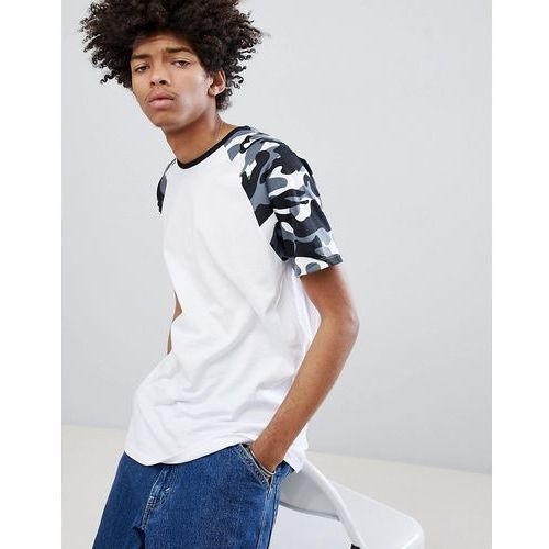 raglan t-shirt with camo sleeves in white - white, Bershka, S-XL
