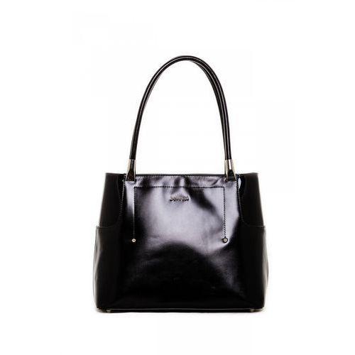 Elegancka torebka z satynowym wykończeniem w czarnym kolorze - Franco Bellucci