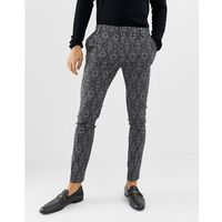 River Island skinny fit smart trousers with ornate print in grey - Grey, kolor szary