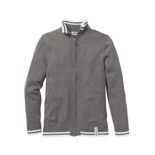Sweter rozpinany regular fit szary melanż marki Bonprix