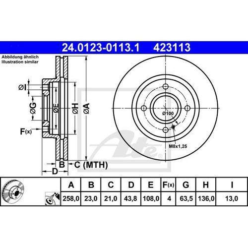TARCZA HAM ATE 24.0123-0113.1 FORD FIESTA VI 1.4TDCI 70KM 10-, 1.5TDCI 75KM 12- (4006633330800)