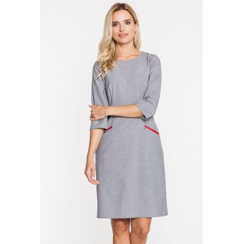Szara sukienka z kieszonkami - Jelonek, 1 rozmiar
