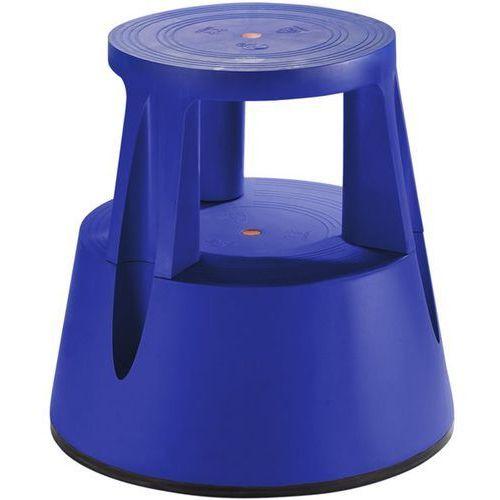 Taboret na kółkach z trwałego tworzywa, nośność 150 kg, niebieski. Z trwałego tw