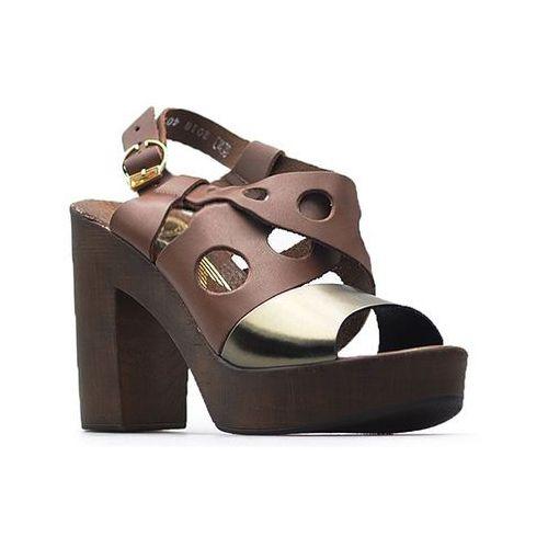 Sandały Lemar 40120 Czekoladowe+miedź