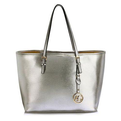 Srebrna torebka shopperka na ramię - srebrny, kolor szary
