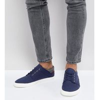 wide fit lace up plimsolls in navy faux suede with warm handle cuff - navy marki Asos