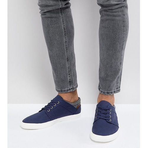 ASOS Wide Fit Lace Up Plimsolls In Navy Faux Suede With Warm Handle Cuff - Navy, kolor szary