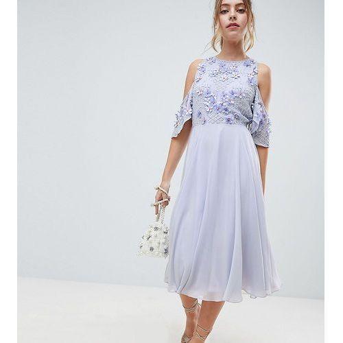 ASOS DESIGN Petite cold shoulder floral bodice midi skater dress - Blue