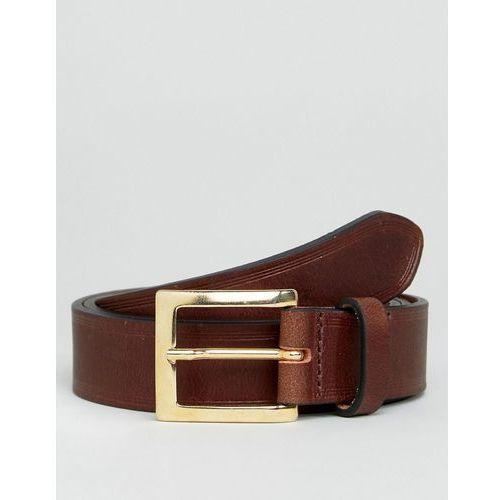 smart leather slim belt in brown with edge emboss - brown marki Asos