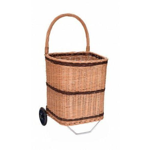 Wiklinowy kosz z kolkami wózek zakupowy na drewno do kominka