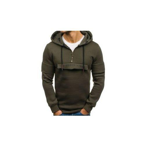 Długa bluza męska z kapturem z nadrukiem zielona denley 171588, Breezy