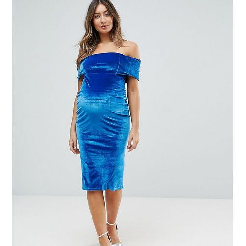 ASOS Maternity Deep Off The Shoulder Bardot Midi Bodycon Dress in Velvet - Blue, kolor niebieski