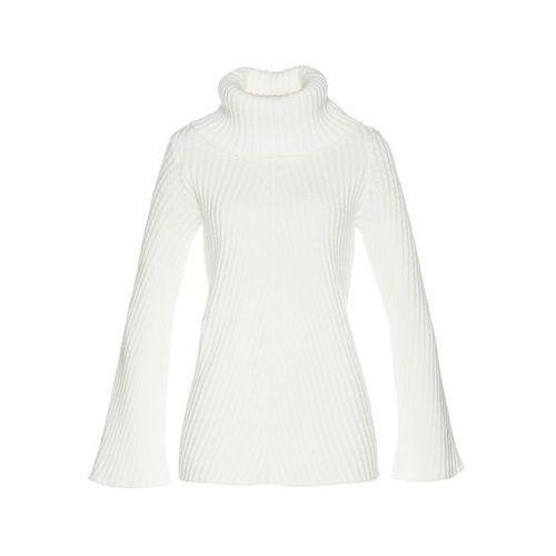 Sweter rozpinany, długi rękaw bonprix jasnoróżowy, kolor biały