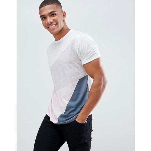 Burton Menswear Geo Colourblock T-Shirt In White Fleck - White, kolor biały