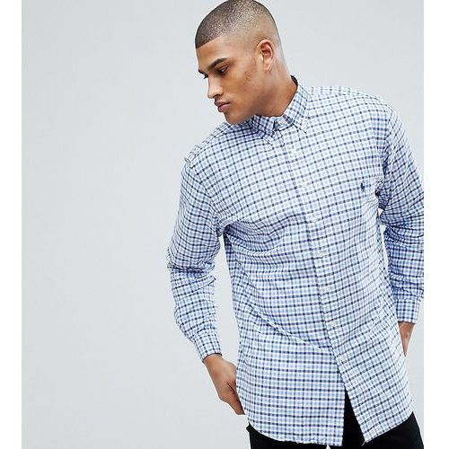 big & tall gingham check oxford shirt in blue/white - blue marki Polo ralph lauren