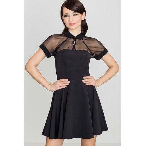Katrus Czarna sukienka z szyfonem z krótkim rękawem