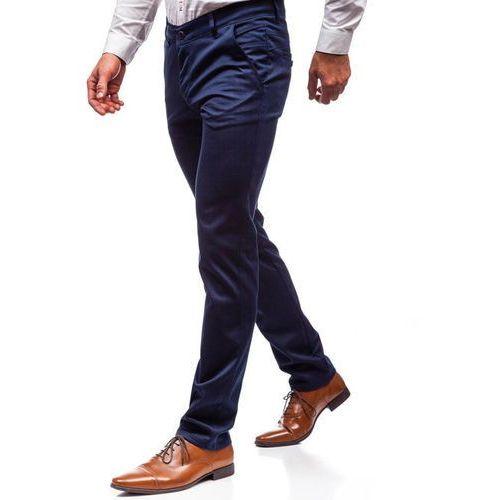 Spodnie wizytowe męskie niebieskie Denley 7623, kolor niebieski