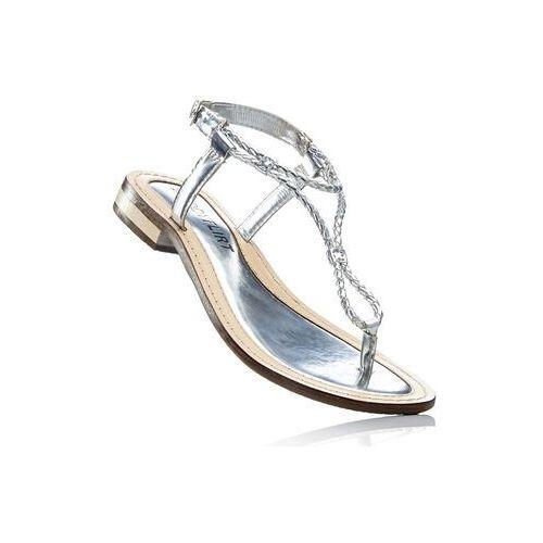 Bonprix Sandały skórzane srebrny