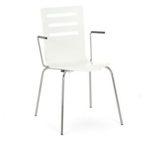 Krzesło do stołówki florence z podłokietnikami proste oparcie biały marki Aj