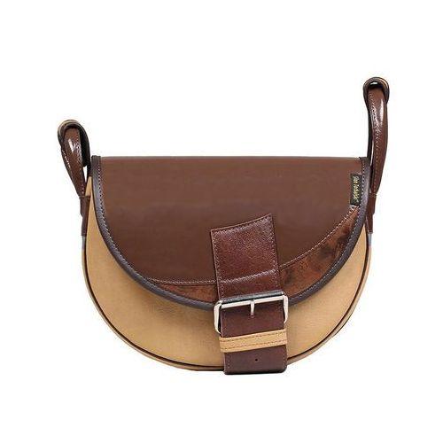 Skórzana torebka listonoszka złoto-brązowa