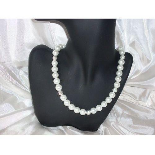 N-00006 Naszyjnik z perełek szklanych, białych, kolor biały