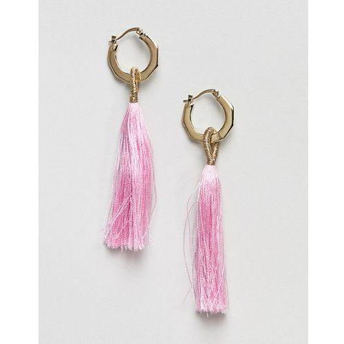 Pieces long tassle earring - pink