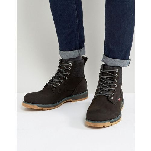 Levis Logan Leather Boots With Denim Detail In Black - Black